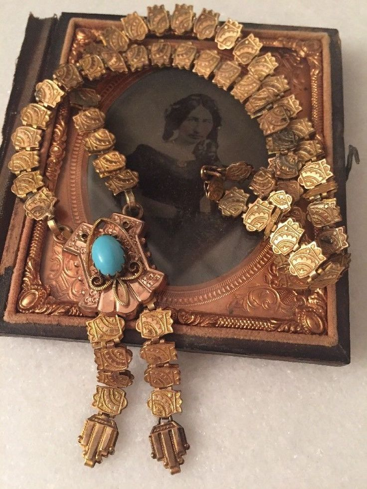 Stunning Antique Vintage Victorian Book Chain Turquoise GF Necklace