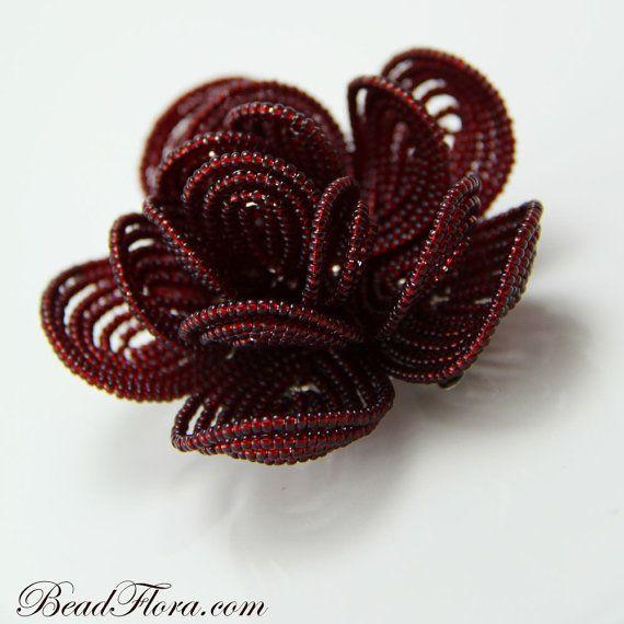 beaded flower hair clip: Bead Bouquet, French Beaded Flowers, Clip Weddings, Royal Crimson, Bead Craft, Crimson Beaded, Crimson French, Flower Hair Clips