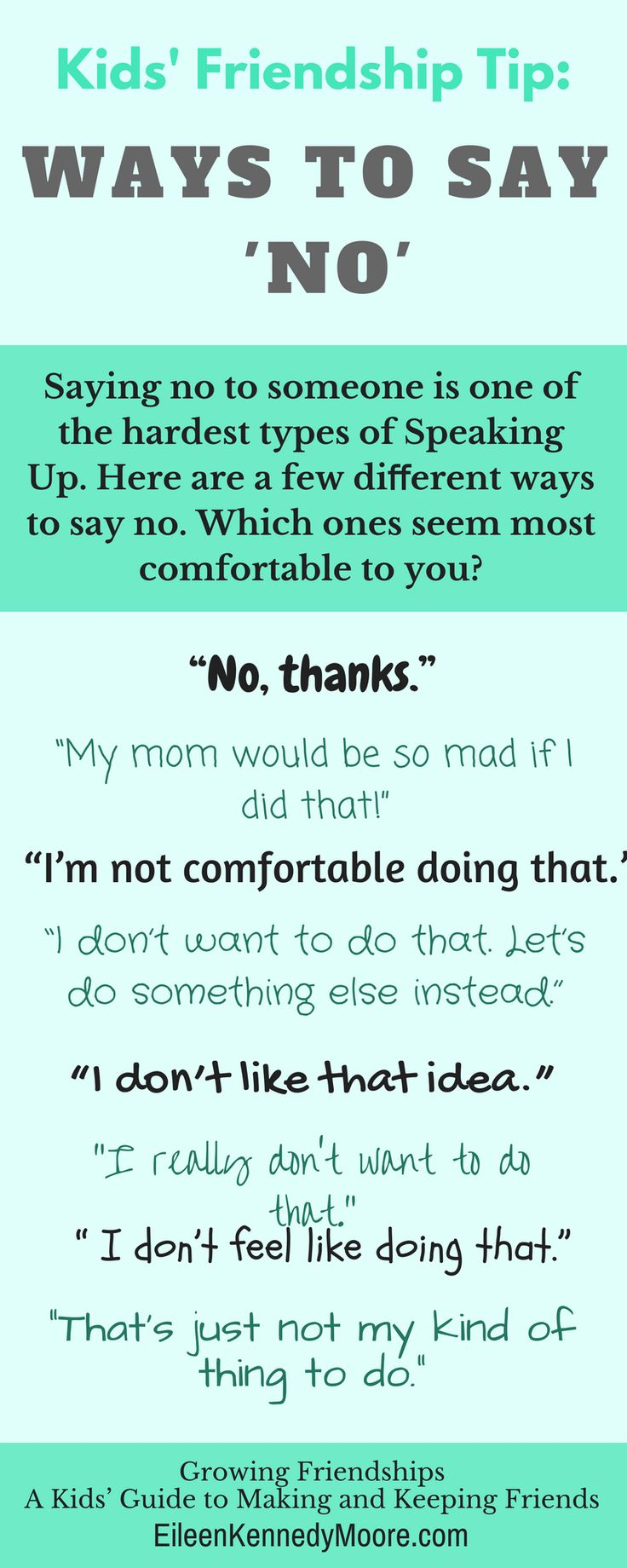WAYS TO SAY NO for kids | Friendship | Growing Friendships - A Kids' Guide to Making and Keeping Friends | Eileen Kennedy-Moore PhD | Christine McLaughlin | Parenting