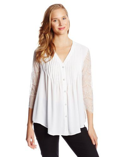 NY Collection Women's 3/4 Lace Sleeve Blouse with Pintuck Details