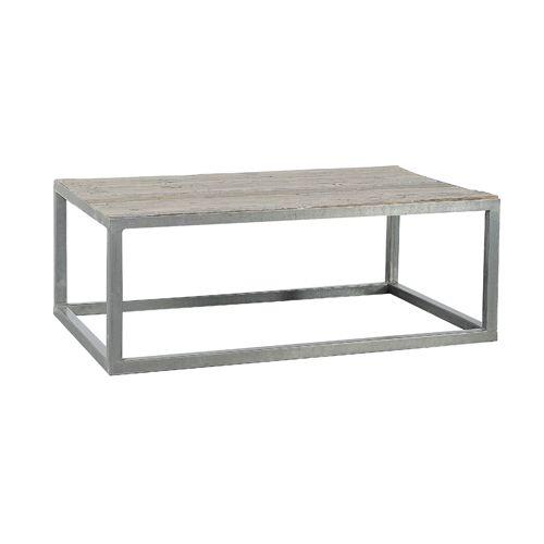 Table basse en bois vieilli blanchi et m tal jardin d for Table jardin d ulysse