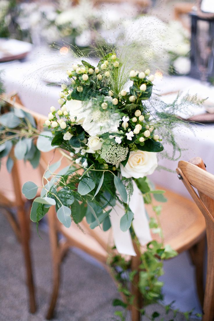 Floral Chair Back Decor - Charlotte Simpson Wedding Dress | White Bridesmaid…