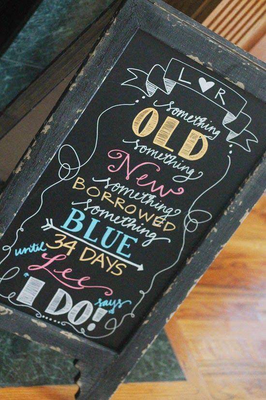 Bridal Shower Chalkboard Lettering | Running On Plenty