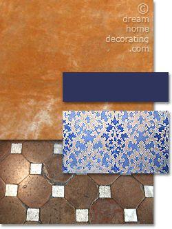 Tuscan color palette in burnt orange and royal blue