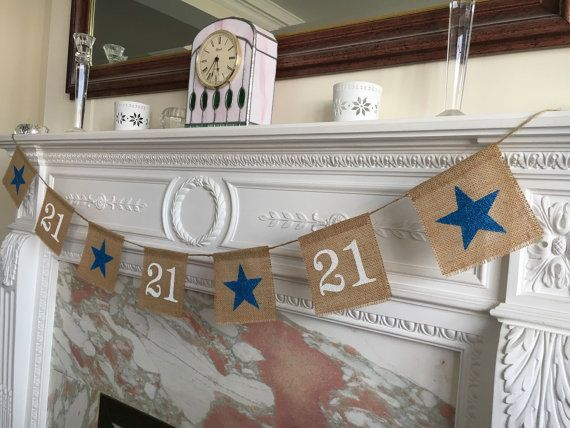 Burlap 21st birthday or anniversary banner by FreshwellsDesigns