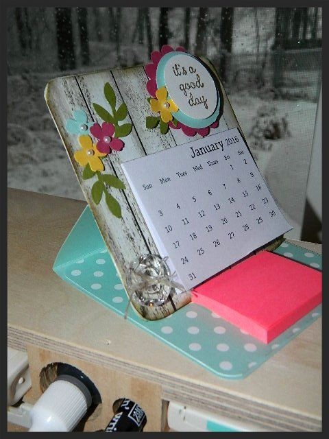 Mini Calendar Desk Easel. Instructions on my blog and a FREE 2016 Mini Calendar PDF download. Great teacher gift, co-worker gift or make one for yourself! Happy Crafting!~ Dee