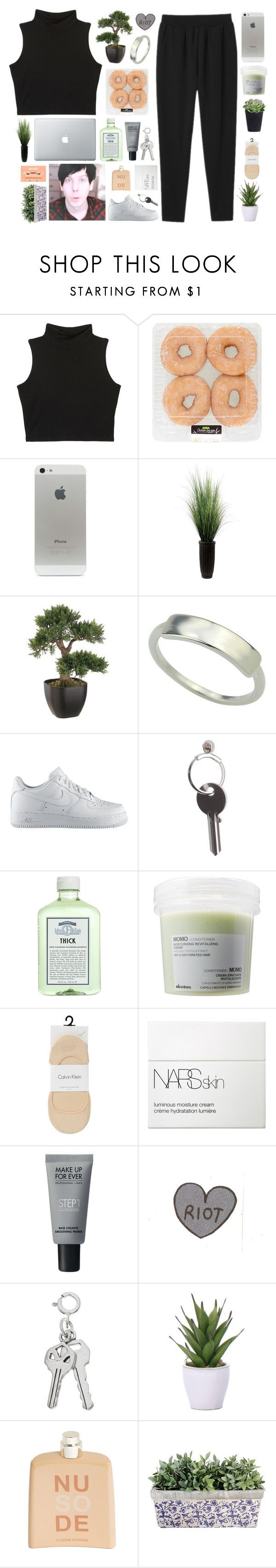 """☾HAPPY BiRTHDAY, PHiL"" by siamesecat-1 ❤ liked on Polyvore featuring Monki, Laura Ashley, NIKE, Maison Margiela, John Allan's, Davines, Calvin Klein, NARS Cosmetics, MAKE UP FOR EVER and Lux-Art Silks"
