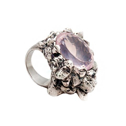 Asteroid silver ring with Rose Quartz by Donna Yolka #jewelry