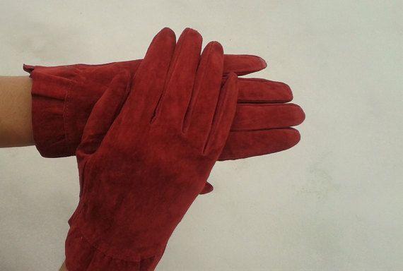 Red Suede GlovesVintage GlovesLeather by VintageBrandNew on Etsy