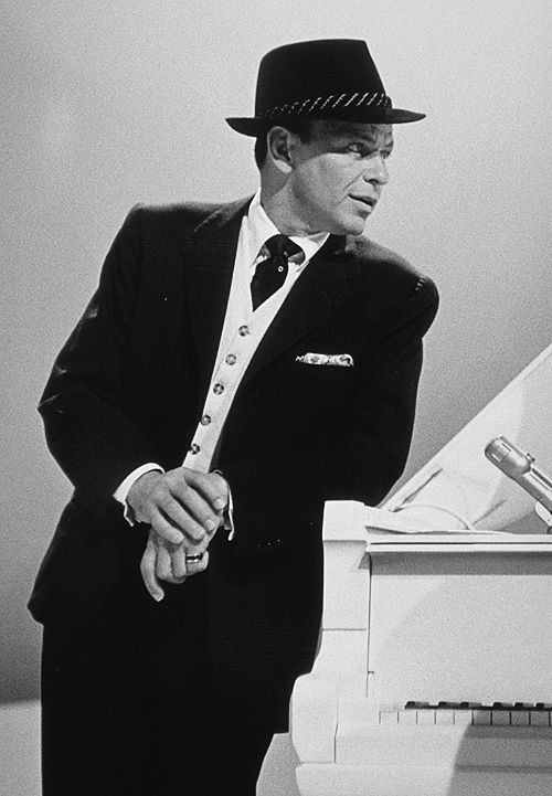 Frank Sinatra photographed by Gene Howard on the set of The Frank Sinatra Timex Show, 1959