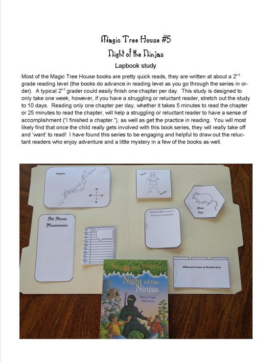 Author Of Magic Treehouse Books Part - 44: Lapbook Unit Study Supplement For Magic Tree House Book 5 Night Of The  Ninjas By Created4Fun
