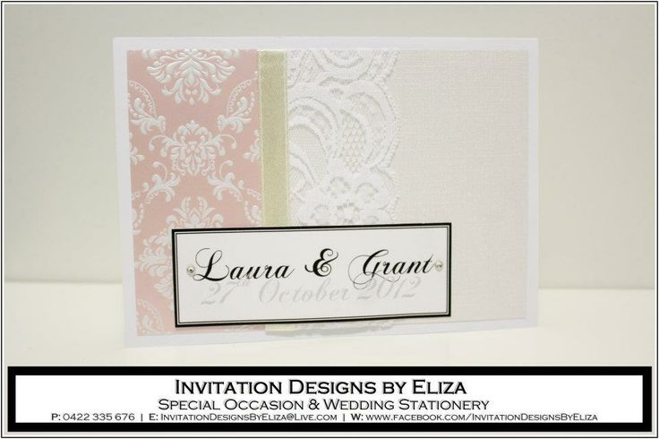 Invitation Designs  {Wedding} Pale Pink, Pale Yellow & Pearl Theme www.facebook.com/InvitationDesignsByEliza