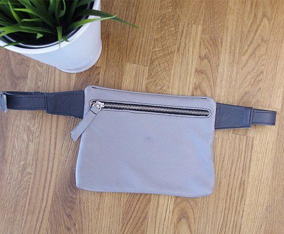 LEATHER Hip Bag BeltHip Purse Grey waist bag travel by meandbags