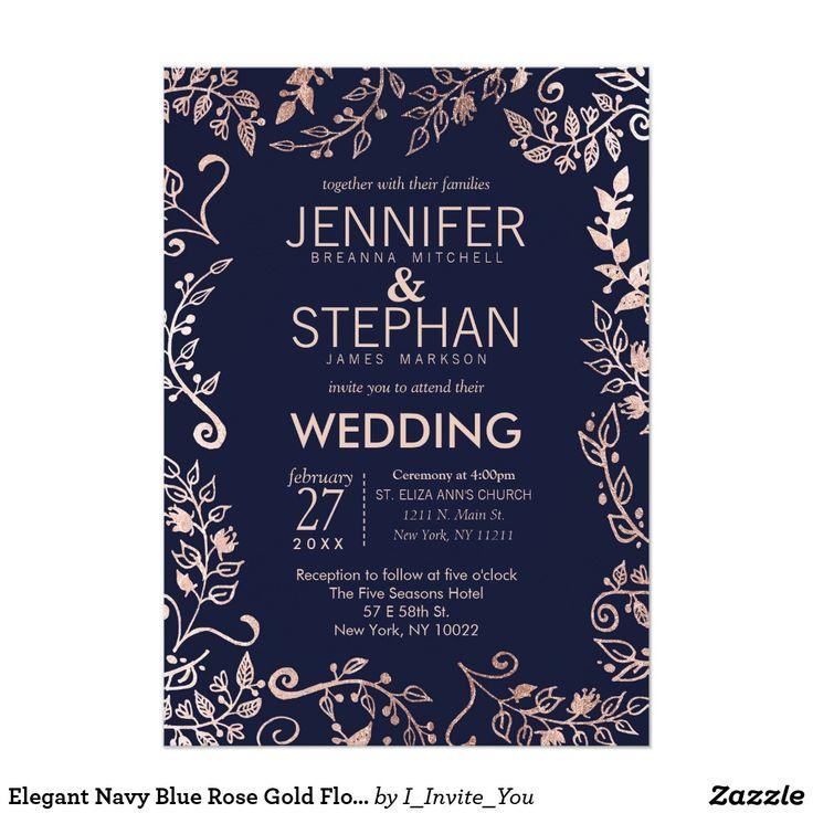 248 best floral wedding invitations images on pinterest lyrics elegant navy blue rose gold floral wedding invites stopboris Images