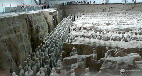 Here you can see how deep the terracotta warriors were buried.