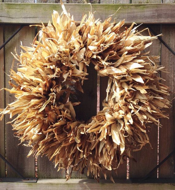 Corn Husk Wreath real corn husks dried by GintherVillageCrafts