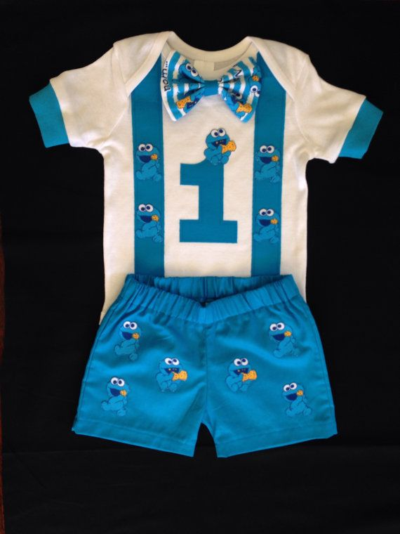 Baby Cookie Monster birthday outfit by SomethingforGrace on Etsy