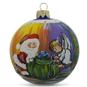 Santa with an Angel Glass Ball Christmas Ornament Holiday Gift Idea