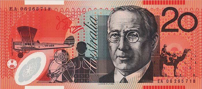 The back of the $20 banknote featuring John Flynn.