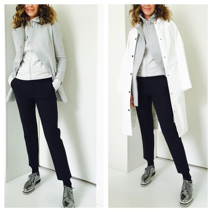 My Daily Staple. layering with Zara, Uniglo raincoat, J Crew Cropped navy trousers and Prada Brogues - Full blog post here - http://www.trinny.london/luxury-leisure/