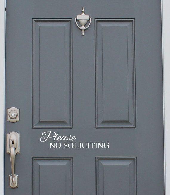 No soliciting vinyl decal sticker front door custom vinyl lettering custom door decal front door decals