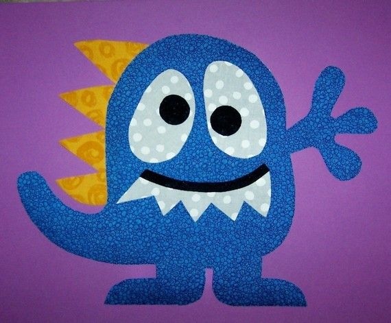 Fabric Applique PDF TEMPLATE Pattern...Spike The Monster