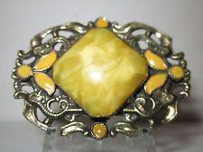 винтажный brooch/pin желтое чешское стекло центр Stone & желтая эмаль металл латунь