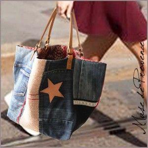 sac cabas de créateur en patchwork jeans 1