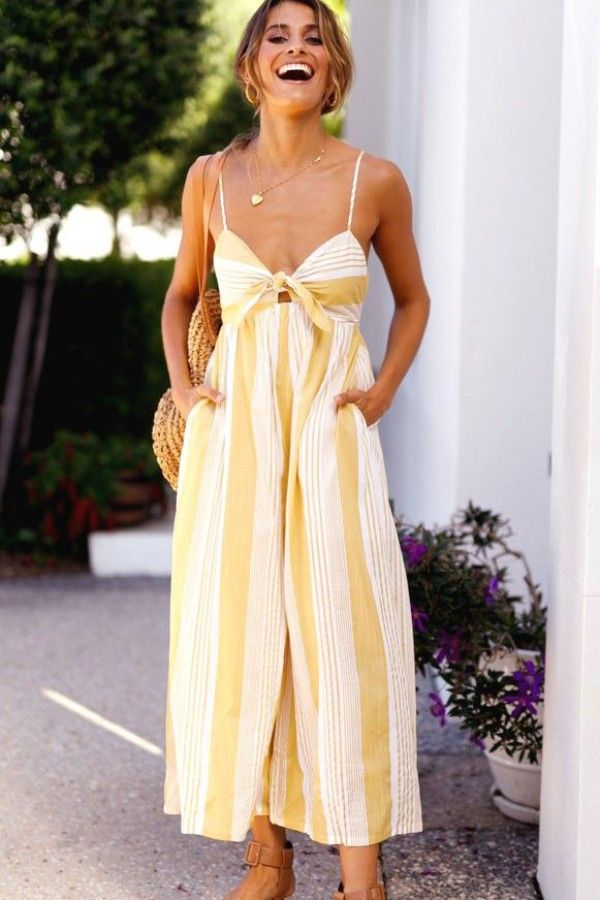 693d950001 Yellow Spaghetti Straps Stripe Printed Knotted Chic Jumpsuit  044527   maykool  jumpsuits  stripes  print