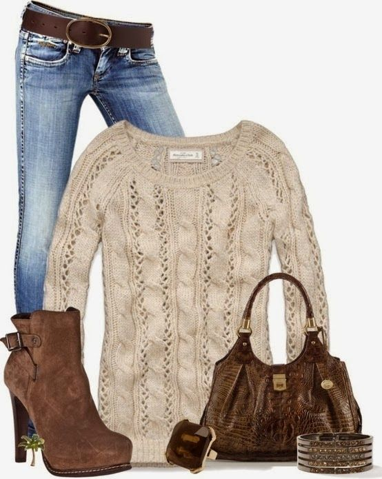 Fall Casual Outfit With Wire Knit Sweater and High Sole Shoes