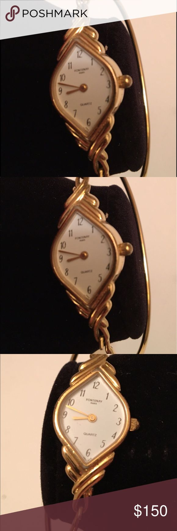 Fontenay wrist watch 18k gold plated vintage Paris Fontenay Wrist watch 18K gold plated pre-owned vintage retails $450 good condition needs battery Fontenay Accessories Watches
