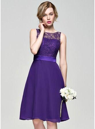A-Line/Princess Scoop Neck Knee-Length Regular Straps Sleeveless No Regency Spring Summer Fall General Plus Chiffon Lace Bridesmaid Dress