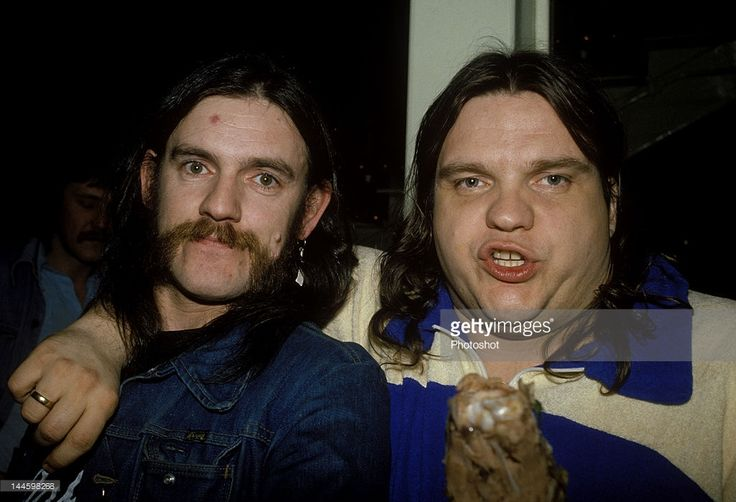 Lemmy of British Heavy Metal band Motorhead and Meatloaf photographed in late 1970's.