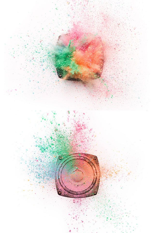 photograph by alexander kent (colour powders/spices exploding on a bass speaker)