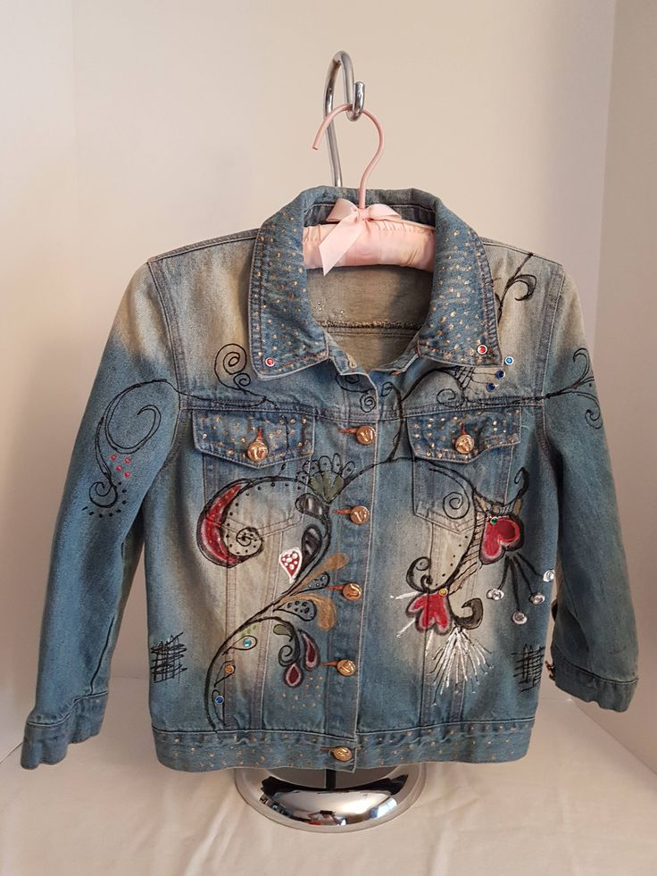 Vintage Child's Denim Hand Painted & Embellished, BoHo Bohemian Bleached Jean Jacket, Scolls, Rhinestones-Small-Med Follow Your Heart by FabBoho on Etsy