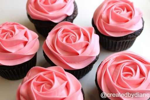 How to frost a rose on a cupcake, video | Created by Diane