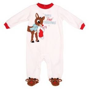 Rudolph the Red-Nosed Reindeer® Baby's First Christmas Blanket Sleeper - Red/White 6M : Target