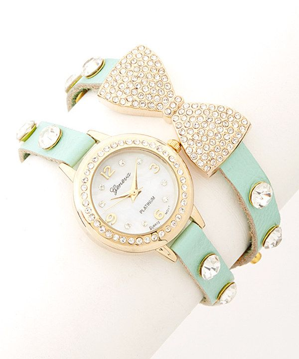 Look what I found on #zulily! Mint Rhinestone Bow Leather Wrap Watch by Geneva Platinum #zulilyfinds