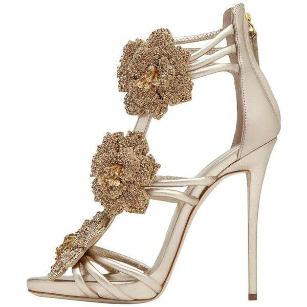 Preowned Giuseppe Zanotti New Gold Leather Crystal Rose Evening... ($2,125) ❤ liked on Polyvore featuring shoes, sandals, high heels, red, red sandals, high heels sandals, leather sandals, gold sandals and gold evening shoes
