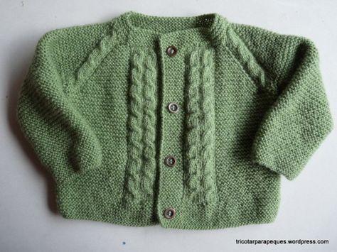 Chaqueta para beb con 4 botones talla 6 meses lovely cardigan for baby 6 months old modelo - Tejer chaqueta bebe 6 meses ...