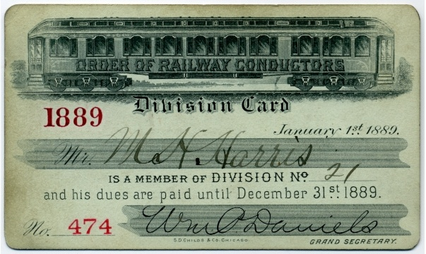 Order of Railway Conductors Division Card 1889