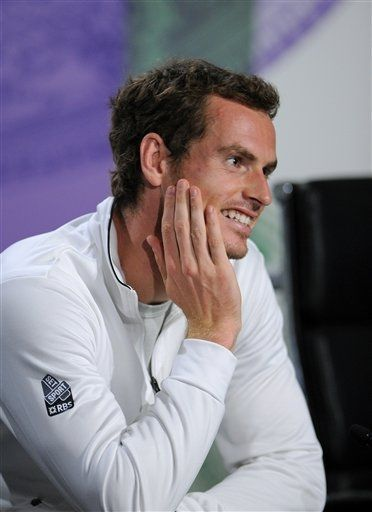 Andy Murray of Britain speaks during a news conference after he won the Men's singles final match against Novak Djokovic of Serbia at the All England Lawn Tennis Championships, Wimbledon, London, Sunday, July 7, 2013.