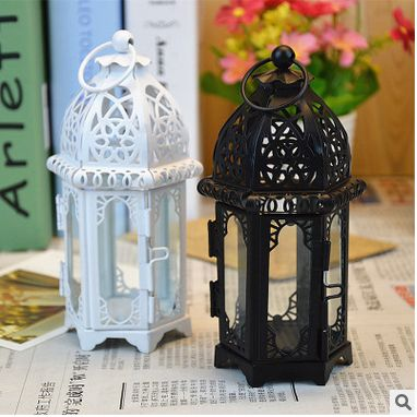 Retro Metal Candle Holder Candle Lamp Light Box Hanging Home