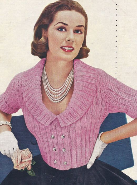 Vintage Knitting PATTERN to make Cardigan Sweater Shorty Jacket Collar PinkColla #VintageHomeArts