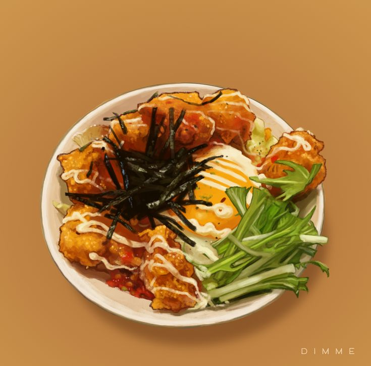 Chicken Karaage / チッキンから揚げ | Digital painting by Dimme McWood | www.monkeyboy.nl