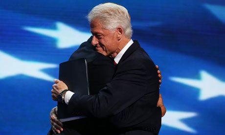 Bill Clinton hugs Barack Obama after a Clinton's DNC speech