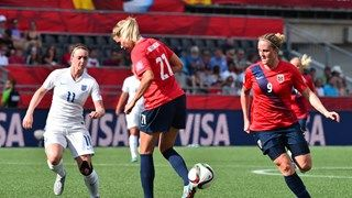 England's Jade Moore (L) watches as Norway's Ada Hegerberg makes a back-foot pass