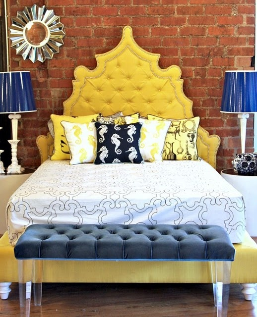 I have so many feelings about my future bedroom(s). This color scheme and headboard increase the feelings.