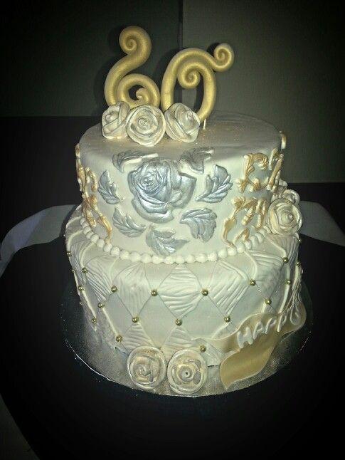 60 th Anniversary cake Gold & Silver www.facebook.com/carinaedolce