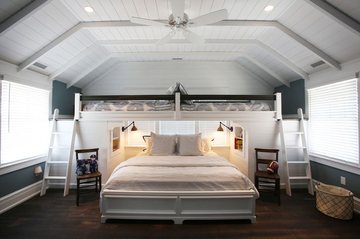 Gorgeous Twin Over Queen Bunk Bed mode Philadelphia Beach Style Bedroom Decorators with built in bunk beds recessed lights sloped ceilings swing arm wall sconce symmetry white